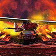 Plane And Fire Art Print