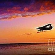 Plane Pass At Sunset Art Print