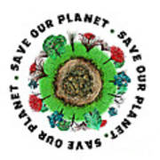 Planet Earth Icon With Slogan Art Print