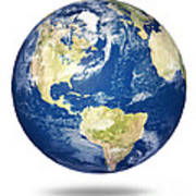 Planet Earth On White - America Art Print by Johan Swanepoel