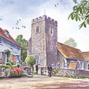 Plaxtol Church Wedding Art Print