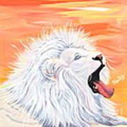Playful White Lion Art Print