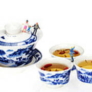 Playing Among Blue-and-white Porcelain Little People On Food Art Print by Paul Ge