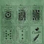 Playing Cards Patent Green Art Print