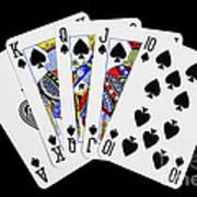Playing Cards Royal Flush On Black Background Art Print by Natalie Kinnear