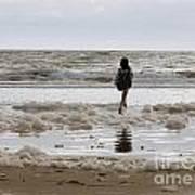Girl Playing In Sea Foam Art Print