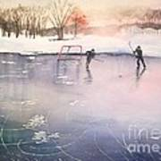 Playing On Ice Art Print