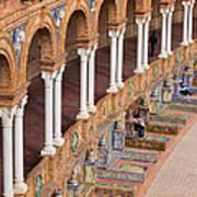 Plaza De Espana Colonnade In Seville Art Print by Artur Bogacki
