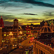 Plaza Lights At Sunset Art Print