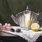 Pleated Teapot With Lemon Art Print