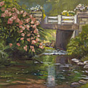 Plein Air - Bridge And Stream Art Print
