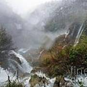 Plitvice Lakes In Winter 4 Art Print