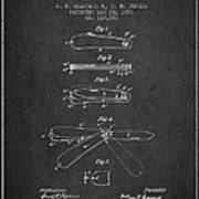 Pocket Knife Patent Drawing From 1886 - Dark Art Print
