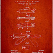 Pocket Knife Patent Drawing From 1886 - Red Art Print