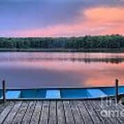 Poconos Lake Whitney Sunset Rowboat Art Print