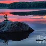 Poconos Lake Whitney Sunset Silhouette Art Print