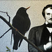 Poe And The Raven Art Print
