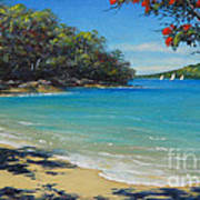 Pohutukawa Nz - Beach And Rangitoto  Art Print