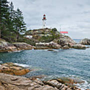 Point Atkinson Lighthouse And Rocky Shore Art Print
