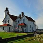 Point Iroquois Lighthouse On Whitefish Bay Michigan Art Print