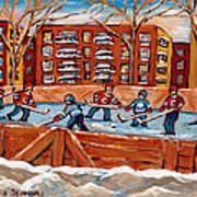 Pointe St. Charles Hockey Rink Southwest Montreal Winter City Scenes Paintings Art Print