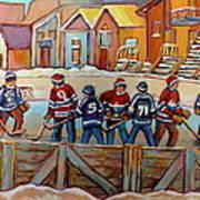 Pointe St. Charles Hockey Rinks Near Row Houses Montreal Winter City Scenes Art Print
