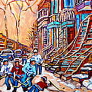 Pointe St.charles Hockey Game Near Winding Staircases Montreal Winter City Scenes Art Print