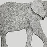 Pointillism Elephant Art Print