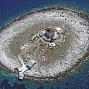 Pokonji Dol Lighthouse From Air Art Print