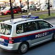 Police Car In Vienna Art Print