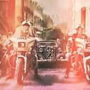 Police escort Art Print