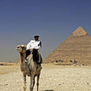 Police Officer On A Camel In Front Of Pyramid In Cairo Egypt Art Print