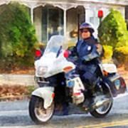 Police - Suburban Motorcycle Cop Art Print