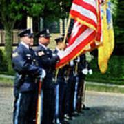 Policeman - Police Color Guard Art Print by Susan Savad