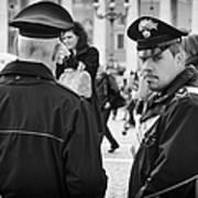 Policemen In Rome Art Print