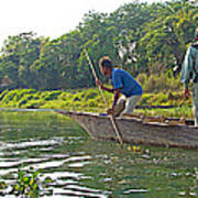 Poling A Dugout Canoe In The Rapti River In Chitwan National Park-nepal Art Print