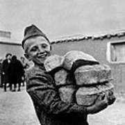 Polish Youngster With Bread Made Art Print