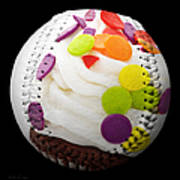 Polka Dot Cupcake Baseball Square Art Print
