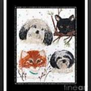 Polka Dot Family Pets With Borders - Whimsical Art Art Print