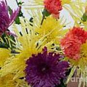 Polka Dot Mums And Carnations Art Print