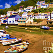 Polperro At Low Tide Art Print