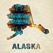 Polygon Mosaic Parchment Map Alaska Art Print