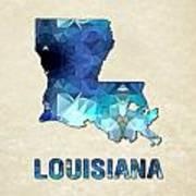 Polygon Mosaic Parchment Map Louisiana Art Print