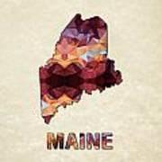Polygon Mosaic Parchment Map Maine Art Print