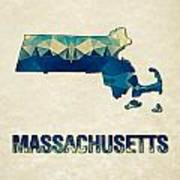 Polygon Mosaic Parchment Map Massachusetts Art Print