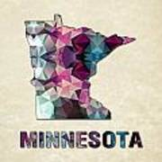 Polygon Mosaic Parchment Map Minnesota Art Print