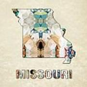 Polygon Mosaic Parchment Map Missouri Art Print