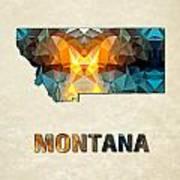 Polygon Mosaic Parchment Map Montana Art Print