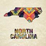 Polygon Mosaic Parchment Map North Carolina Art Print