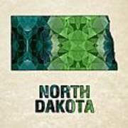Polygon Mosaic Parchment Map North Dakota Art Print